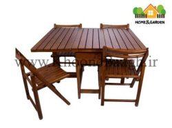 میز و صندلی چوبی تاشو 4 نفره